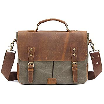 Amazon.com: Kattee Vintage Canvas   Real Leather Messenger Bag ...