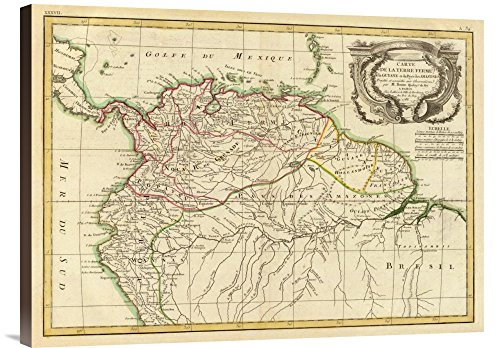 Global Gallery Budget GCS-295687-30-144 Historical Map Rigobert Bonne Terre Ferme Guyane in This case That Color is Turkish Coffee 1785