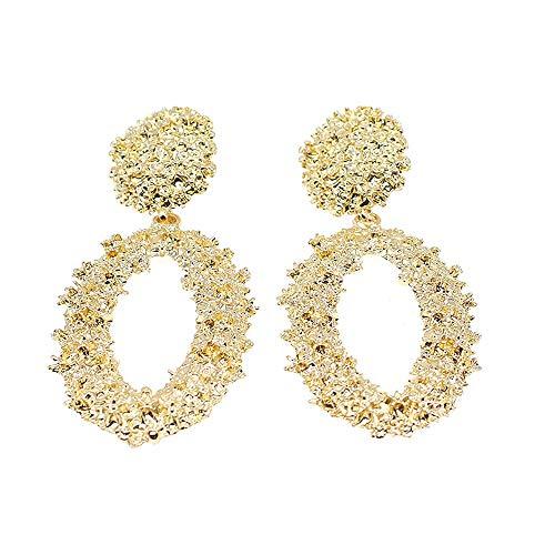 Hollow Geometric Large Oval Dangle Earrings Metal Statement Drop Earrings Punk Bohemian Raised Textured Design Big Hoop Earrings for Women Fashion Jewelry (Gold Oval Earrings) (Oval Textured Pendant)