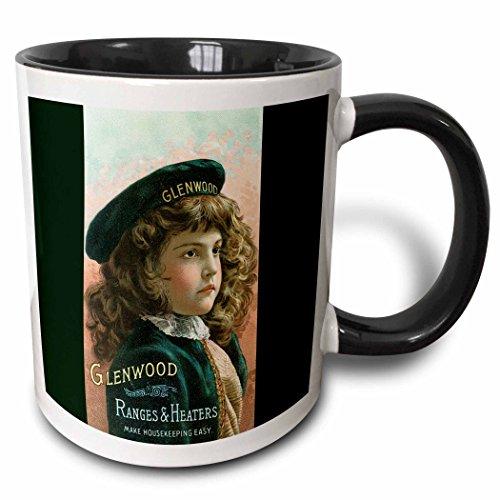 3dRose BLN Vintage Trade Cards Featuring Children - Glenwood Ranges and Heaters Pretty Girl in a Green Beret - 15oz Two-Tone Black Mug - Range Glenwood