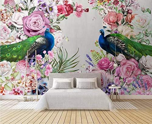 (3D Wallpaper Mural Custom Wallpaper Modern Hand-Painted Peacock Flowers Tv Murals Home Decor 3D Living Room Bedroom Murals Silk Cloth Send Glue)