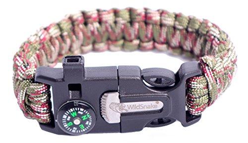 Rope Fancy Bracelet (WildSnake Emergency Paracord Survival Bracelets |Set of Tactical Survival Gear |Flint Fire Starter, Whistle, Compass & OUTDOOR Survival-Kit Camping/Fishing/LIFE (Camo/Light Green))