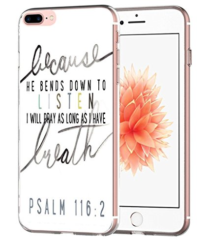 Price comparison product image Iphone 7 Plus Case Bible Verses Psalms- Topgraph [Soft Tpu Slim Fit Protective] Apple Iphone 7 Plus Protective Cover Christian Songs
