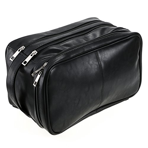 Toiletry Bags, Sumnacon Unisex PU Leather Waterproof Travel Toiletry Bag Organizer Perfect for Shaving Grooming Dopp Kit & Household Business Vacation, Cosmetic Bag with Portable Handle Black Leather Tool Bag