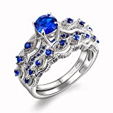 Newshe-13-CT-Round-Created-Blue-Sapphire-925-Sterling-Silver-Engagement-Ring-Set-Size-5-10