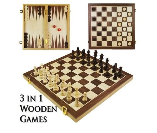 Generic.. RD Game set 3in1tagliere in legno di legno Compendium viaggio e set Compend Games Chess Pendium TR Game set Backg backgammon spifferi Mon Draugh.. NV_1001006589-WRUK23-S1