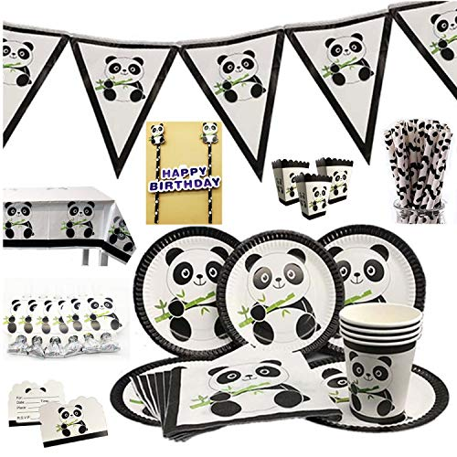 Child's Panda-Monium Birthday Party Supplies Pack Includes: Dessert Plates,Cups,Pennant Garland,Inviting cards,Straws,Napkins and Tablecloth ()