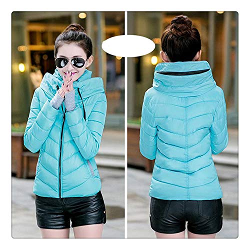 Hngchangji 2018 Hooded Women Winter Jacket Short Cotton Padded Womens Coat Autumn Casaco Feminino Inverno Solid Color Parka Stand Collar Sky Blue-No Hood XL