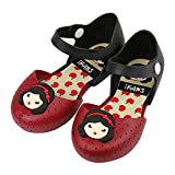 iFANS Girls Princess Jelly Shoes Toddler Kids Mary Jane Flats,Red,8 M US Toddler