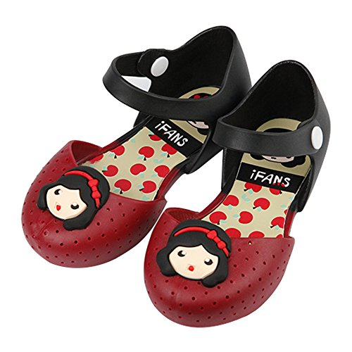 iFANS Girls Princess Jelly Shoes Toddler Kids Mary Jane Flats Red -
