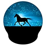 ICOLOR Running Horse 9 x 10 Inches Personality Laser Mouse Pad with Wrist Rest, Optical Non-Slip Ergonomic Memory Foam Pain Relief Mouse Pad Mat Desk Mice Mat for Unisex Adults(WRP-03)