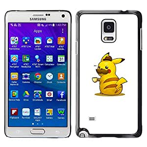 KLONGSHOP // Cubierta de piel con cierre a presión Shell trasero duro de goma Protección Caso - Pika Café - Samsung Galaxy Note 4 //