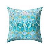Best Mattress Topper 2015 FarJing Geometric Cushion Cover Square Pillowcase Sofa Waist Throw Cushion Cover Home Decor (18x18''(45cm x 45cm),O)