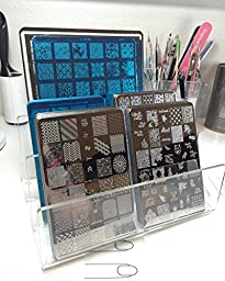Clear Acrylic Desktop File Sorter,Makeup Palette Organizer, Electronics Organizer Holder, 3 Sections, 8\
