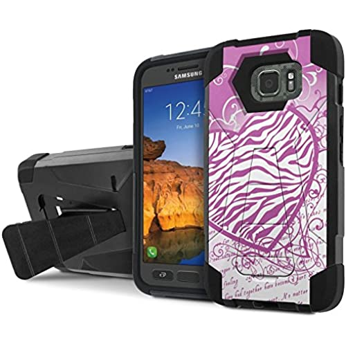 AT&T [Galaxy S7 Active] Armor Case [NakedShield] [Black/Black] Tough ShockProof [Kickstand] Phone Case - [Zebra Love] for Samsung Galaxy [S7 Active] Sales