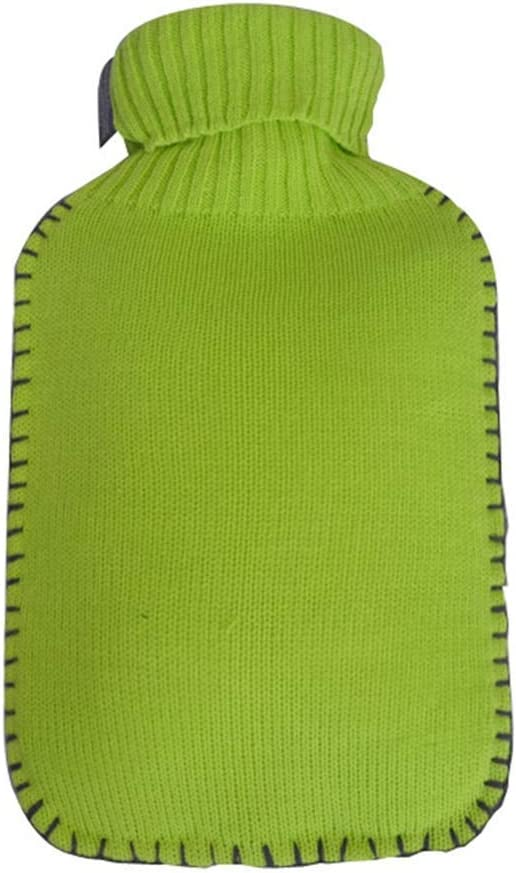 Color : Green CMXSC Skin-Friendly Hot Water Bottle with Knitted Coat BPA-Free Warm Bag for Against The Cold /& Pain Relief