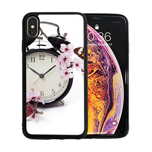 Clock with Blossoms and Butterfly iPhone Xs Max Case Screen Protector TPU Hard Cover with Thin Shockproof Bumper Protective Case for Apple iPhone Xs Max 6.5 Inch Blossoms And Butterflies Clock