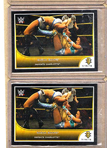 (Sasha Banks - WWE-2 Card Lot-(2) 2016 Topps Defeats Charlotte-NXT-R2W-Mint )