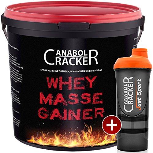Whey Masse Gainer, Eiweisspulver, 3000g Eimer, Erdbeere, Toffi oder Vanille + Proteinshaker, Sonderangebot Anabol Cracker (ERDBEER - Geschmack) product image