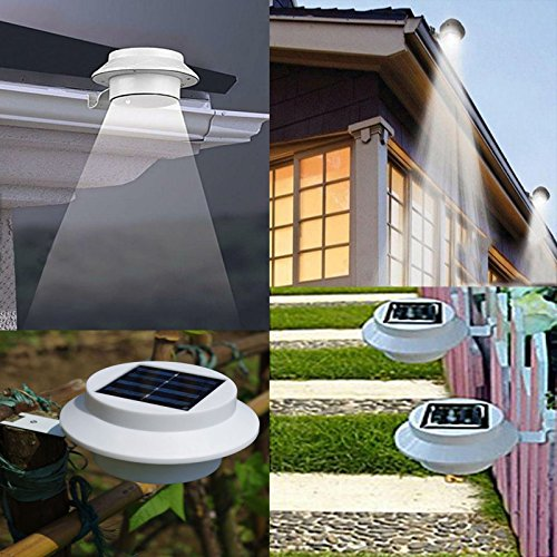 NEW Outdoor Solar Powered LED Wall Path Landscape Mount Garden Fence Light Lamp