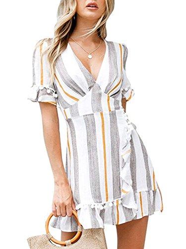 (Hount Women Striped Wrap Dress V-Neck Ruffle Sleeve A Line Tie Knot Short Summer Sun Dress with Belt (Small,)