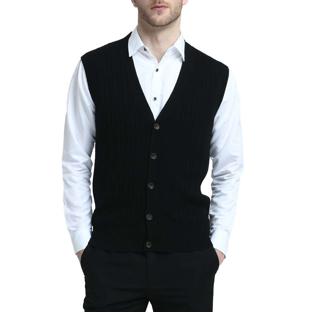 Kallspin Relaxed Fit Mens Cable Stripe V Neck Vest Sweater Cashmere Wool Blend Front Button (Black, L) by Kallspin