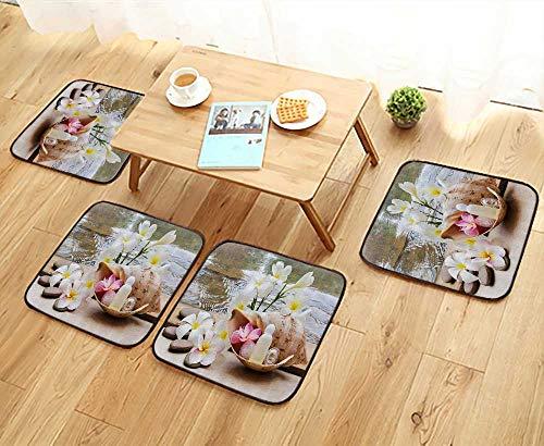 (Printsonne Chair Cushions Trio Bubblebath with Cream and Liquid Soap with Cute Flowers and Sea Shell Bathroom Non Slip Comfortable W25.5 x L25.5/4PCS Set)