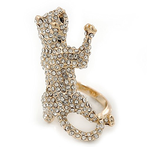Avalaya Gold Plated Sculptured Swarovski Crystal 'Cat' Statement Ring - Size 8-4cm Length