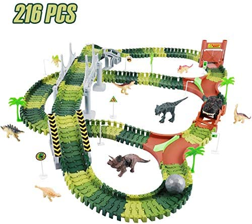 KeepRunning Dinosaur Toys Dinosaur Racing Set Toys- Flexible Track Toy Sets for 3-12Year Old Boys Girls Children (Including 216 PCS Including 1 Car 8 Dinosaur Models Trees Etc.)