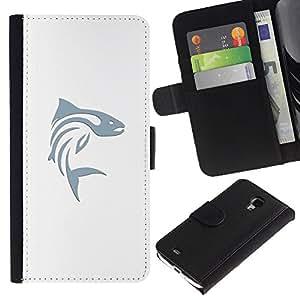 Pesca en azul minimalista blanco del arte- la tarjeta de Crédito Slots PU Funda de cuero Monedero caso cubierta de piel Para Samsung Galaxy S4 Mini i9190 (NOT S4)