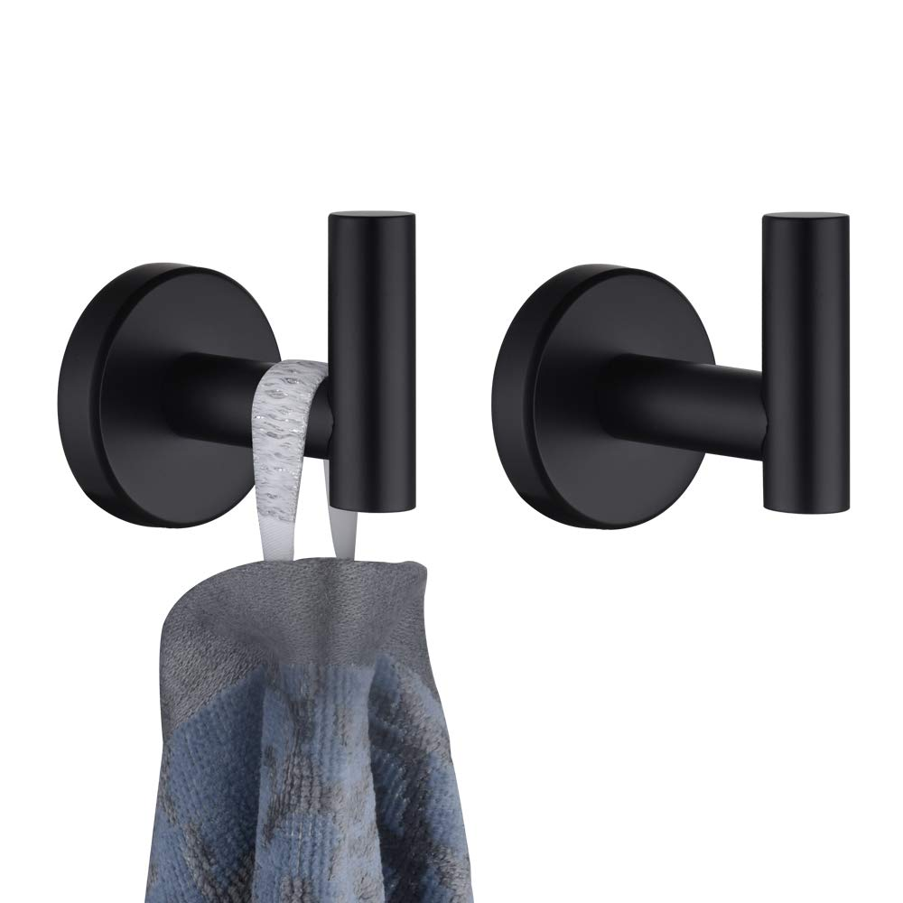 JQK Bath Towel Hook, Matte Black Coat Robe Clothes Hook for Bathroom Kitchen Garage Wall Mounted (2 Pack), 304 Stainless Steel, TH100-PB-P2 by JQK