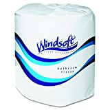 Windsoft 2400 Single Roll Two Ply Premium Bath Tissue (Case of 24 Rolls)
