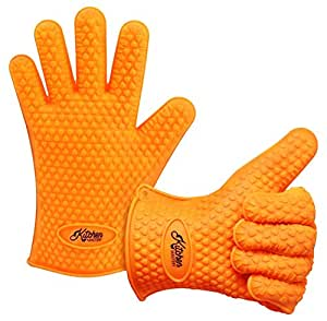 Kitchen Mastery Heat Resistant Silicone Barbecue Gloves for Grilling, Smoking, Cooking or Baking/Best as Pot Holder, Grill Tool or Oven Mitts