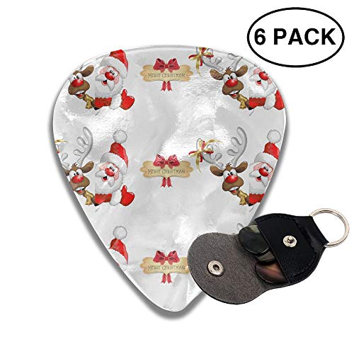Merry Christmas Cute Santa Claus And Reindeer Small Medium Large 0.46 0.71 0.96mm Mini Flex Assortment Celluloid Top Classic 351 Rock Electric Acoustic Guitar Pick Accessories Variety Pack Collectors -