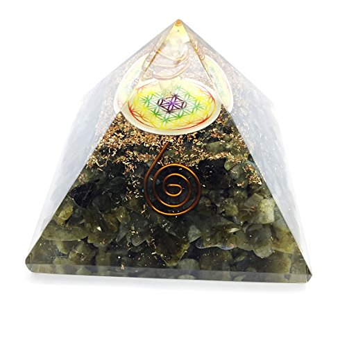 Crocon Labradorite Orgone Crystal Pyramid With Flower Of Life Symbol & Crystal Point For Reiki Healing Chakra Balancing Size 3-3.5 Inches by Crocon