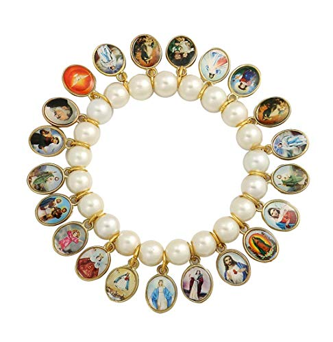 Catholica Shop Glass Crystal Beads Stretch Bracelet with 21 Medals of Mary, Jesus & Other Saints - Made in Brazil (White) -