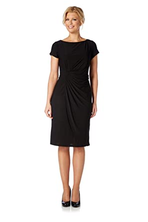 Roman Womens Wrap Over Shift Dress Black Size 20 Amazon
