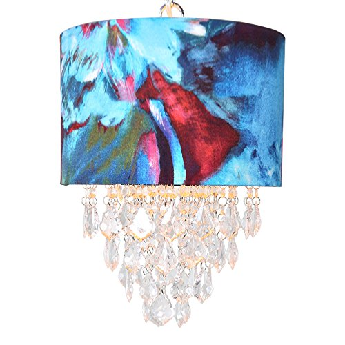 River of Goods 16434 Tiered Crystal Hanging Lamp, Abstract Watercolor -