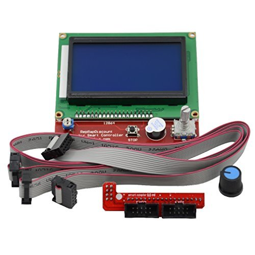 Graphic Lcd - ReliaBot 12864 LCD Full Graphic Smart Display Controller Board with Adapter and Cable for RAMPS 1.4 RepRap 3D Printer Mendel Prusa i3