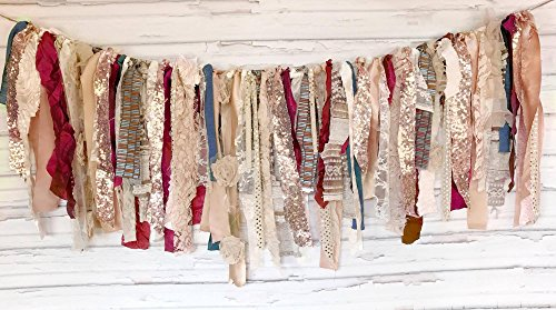 Rose Gold Fall Shabby Chic Rag Tie Garland: ~ Photo Shoot ~ Wedding ~ Birthday ~ Nursery ~ Bridal Shower ~ Highchair Banner ~ Gender Reveal Parties ~ Decorations ~ Wall Decor! (3 FEET WIDE) ()