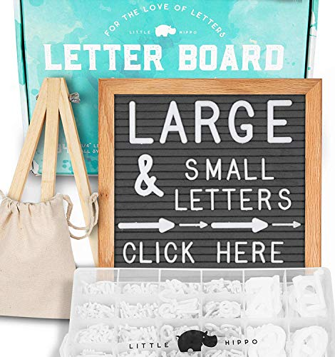 Canvas Boards Box - Letter Board -Letters +Stand +Sorting Tray +Canvas Bag +More | Changeable Felt Message Board, Letterboard, Felt Board, Marquee Sign, Word Board, Sign Board by Little Hippo (Gray)