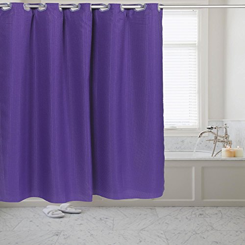 American Crafts Pre Hooked Waffle Weave Fabric Shower Curtain Purple Polyester 70