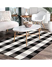 Area Rugs Cotton Buffalo Plaid Checkered Floor Mats Washable Woven Runner Rug …