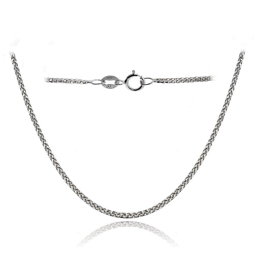 Bria Lou 14k White Gold .8mm Italian Spiga Wheat Chain Necklace, 18 Inches