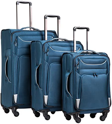 Coolife Luggage 3 Piece Set Suitcase Spinner Softshell lightweight blue sliver