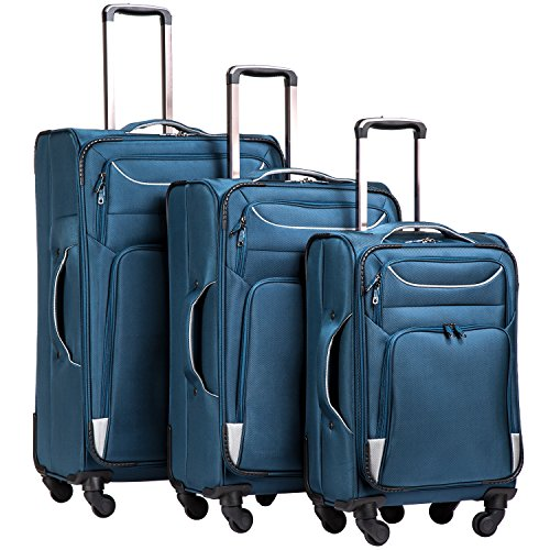 Coolife Luggage 3 Piece Set Suitcase Spinner Softshell lightweight (blue+sliver) (Best Selling Coach Bags)