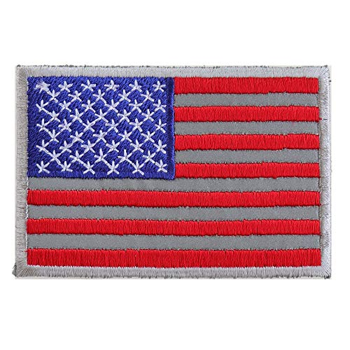 American Flag Reflective Patch - 3x2 inch. Embroidered Iron on Patch