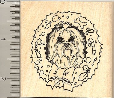 Maltese Dog Christmas Wreath Rubber Stamp ()