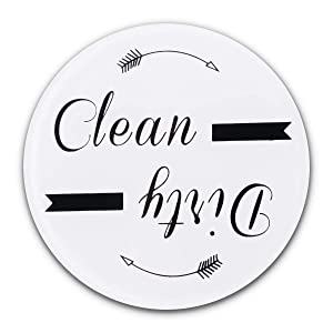"""MEARTEVE Clean Dirty Dishwasher Magnet, Works on All Dishwashers, Magnetic Clean Dirty Sign for Home, Kitchen, Office Use, 3.15"""" Diameter Round, White"""