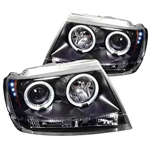 Jeep Grand Cherokee 99 00 01 02 03 04 Projector Halo Headlights with LED - Black (Pair)